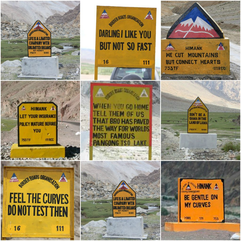 BRO Road signs Ladakh Himank